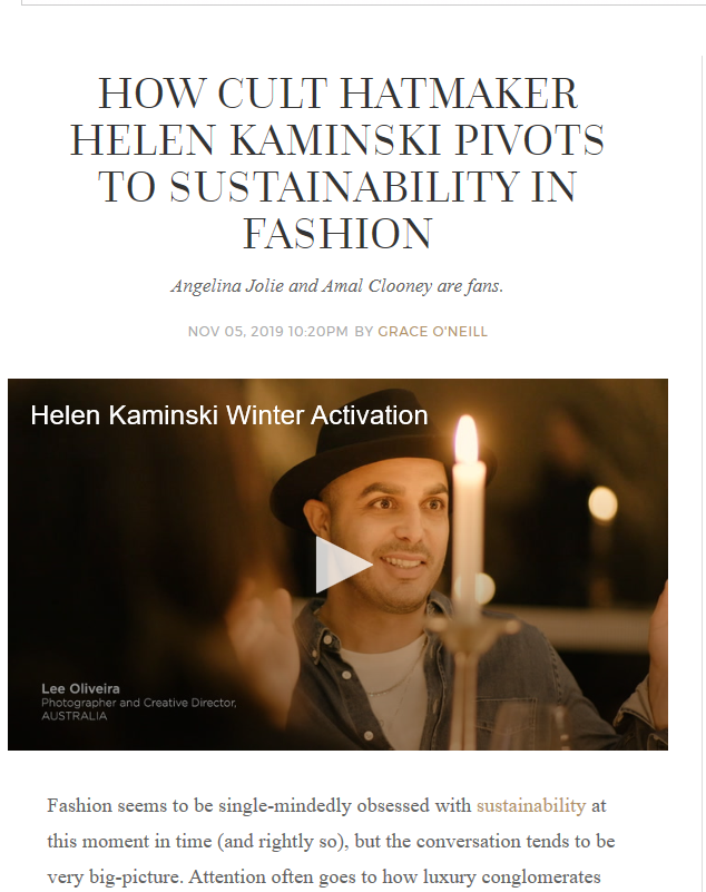 Our Helen Kaminski Brand featured on Harper's Bazaar