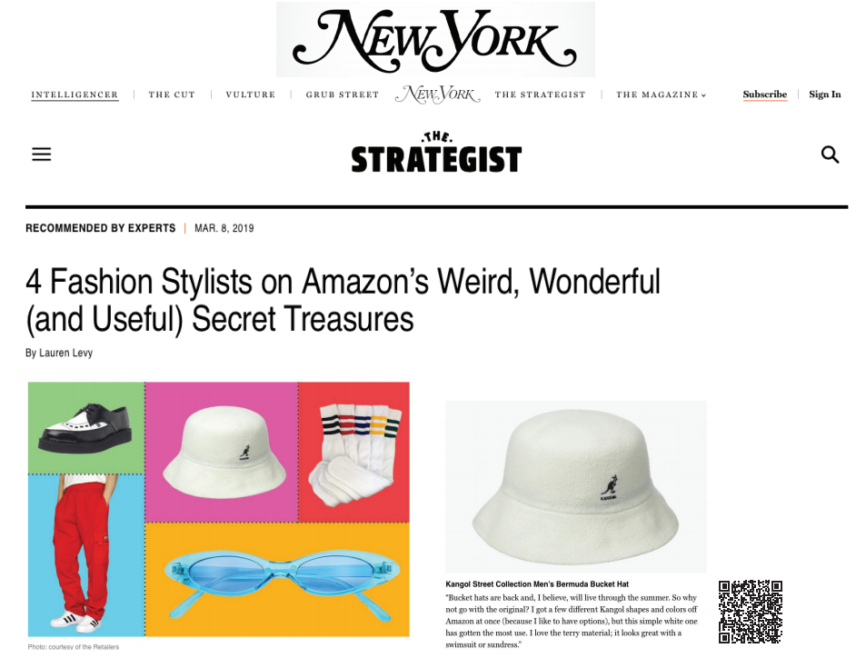 "Our Kangol Brand was in New York Magazine in an article, ""4 Fashion Stylists on Amazon's Weird, Wonderful (and Useful) Secret Treasures"""